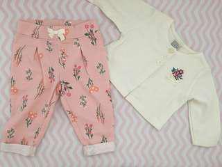 Baby girl cardigan pants set