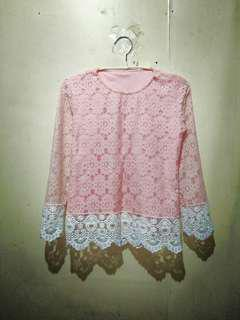 Baby pink blouse lace