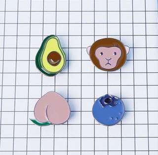 Avocado monkey peach blueberry fashion jewellery badge enamel pin brooch