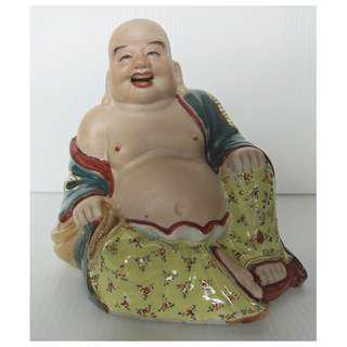 Famille Rose Porcelain Bisque Face Happy Laughing Buddha (粉彩粉脸弥勒佛像)