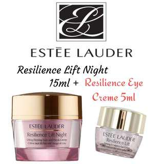 100% Authentic! Estee Lauder Resilience Lift Night Firming/Sculpting Face and Neck Creme 15ml + Estee Lauder Resilience Lift Eye Creme 5ml