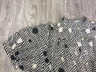 復古黑白幾何條紋短袖開襟衫上衣