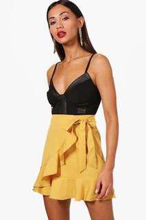 Boohoo Mustard Ruffle Skirt