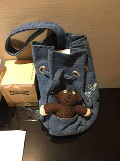 日本小店帶回牛仔小熊手提包