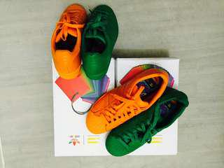 Addidas Pharell William Orange and Green