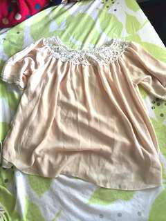 Cream lace neckline top