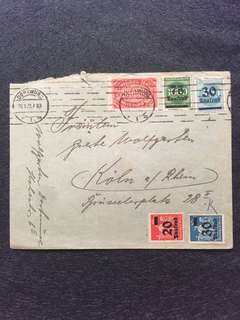 Germany 1923 Sep28 Hyperinflation Cover + Stamps at 250,000 Marks Local Rate