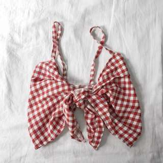 red gingham wrap top