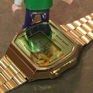 Casio 金色鏡面A168 電子錶 全新