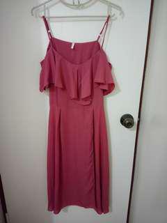 PRE-LOVED: Chiffon Boho Dress, off shoulder.