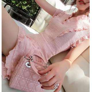 褶皱奶油文艺学生超仙女温柔收腰显瘦极简冷淡风连衣裙夏