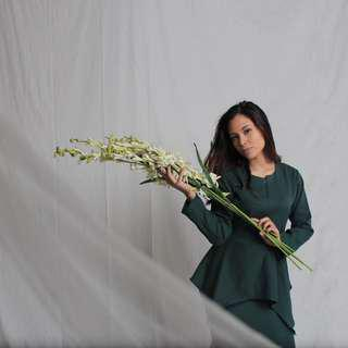 Green top and long skirt