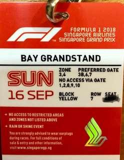 F1 TICKET SINGAPORE GP 2018 F1 SUNDAY 16 SEPT BAY GRANDSTAND YELLOW BLOCK / MARTIN GARRIX
