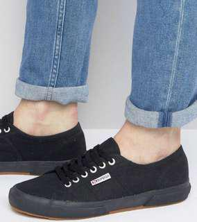 Superga 2750 classic plimsolls in all black canvas