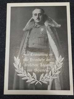 WW2 Germany 1939 Francisco Franco Postcard Commemorating Homecoming of the German Condor Legion from Spain *Rare* Excellent Condition