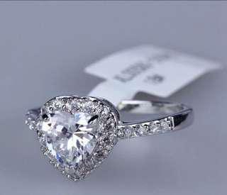 18K White Gold plated Heart Shaped 1.25 Carat Cubic Zirconia with micro CZs Cluster Setting Ring