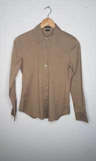 Brown Button Down Top Size S