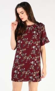 Dressabelle Ruffled Shoulder Shift Dress (maroon floral)