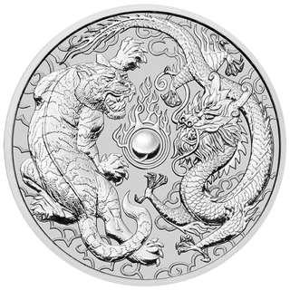 2018 澳洲龍爭虎鬥 .9999 銀幣1盎司連圓盒  2018 1 oz Australia Dragon and Tiger .9999 Silver Coin with coin capsule