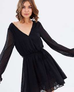 Sass Black Poka Dot Wrap Dress
