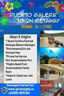 3D2N Puerto Galera Getaway 10+1 PROMO
