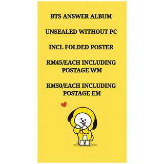 BTS UNSEALED ANSWER ALBUM WITHOUT PHOTOCARD