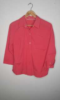 Pink Button Down Top Size L