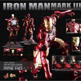 Hot Toys - Iron Man Mark III (Battle Damaged Version) 1/6th Scale Collectable Figure (Exclusive) Mark 3 MMS 110