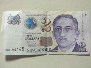 📢 TRIPLE 4 $2 Paper note (PM LEE signature)