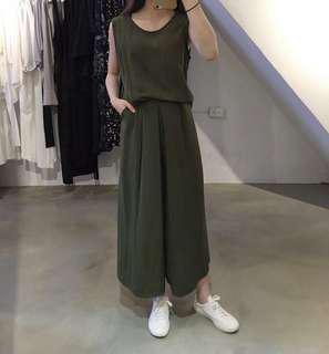 Zora 韓 棉麻 兩件式 背心+寬褲裙 墨綠