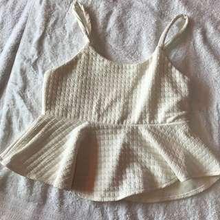 White Sexy Ruffled Top
