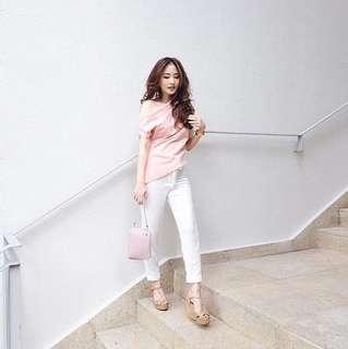 Virginia Choo Soft Pink Shoulder top