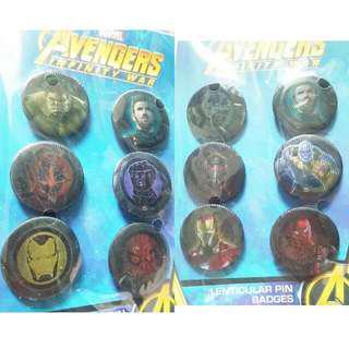 New Marvel Avengers Infinity War Lenticular Pin Badges Set 6pcs Per Set 全新襟章一套6個 正版真貨 Official Item $30 For 1. $220 For 10.
