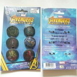 New Marvel Avengers Infinity War Lenticular Pin Badges Set 6pcs Per Set 全新襟章一套6個 真品正貨 Genuine Item $30 For 1. $220 For 10 Sets.