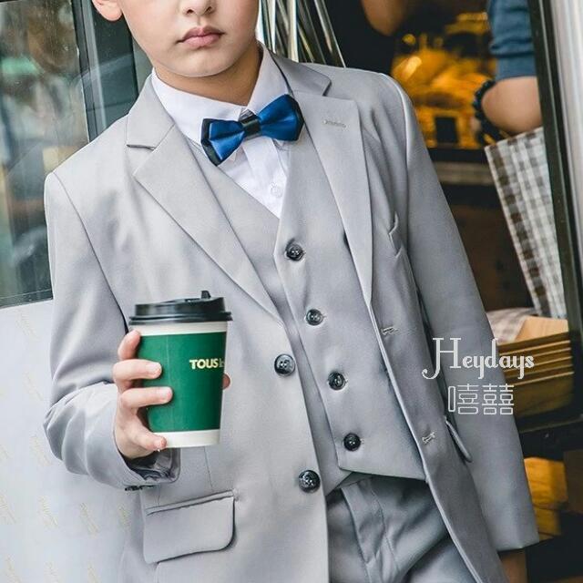 淺灰色童裝5件套煲呔馬甲西裝仔套裝 (預訂款) Pre-Order Preorder Boys Light Grey Color 5pcs Suit Set for Kids Ringbearer #西裝仔 #花仔
