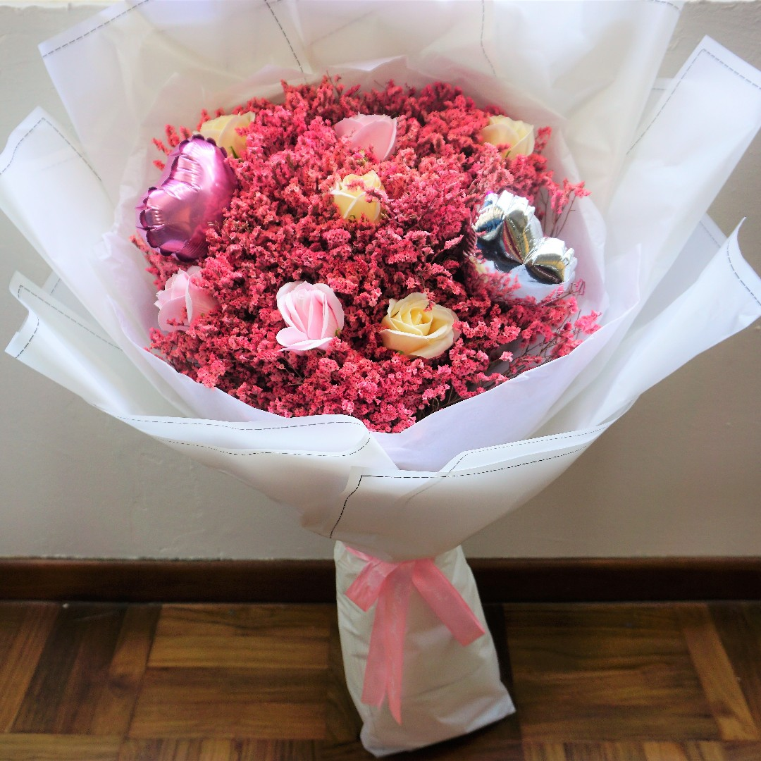 80cm Giant Flower Bouquet I Balloons and Pink Baby Breaths I Long ...