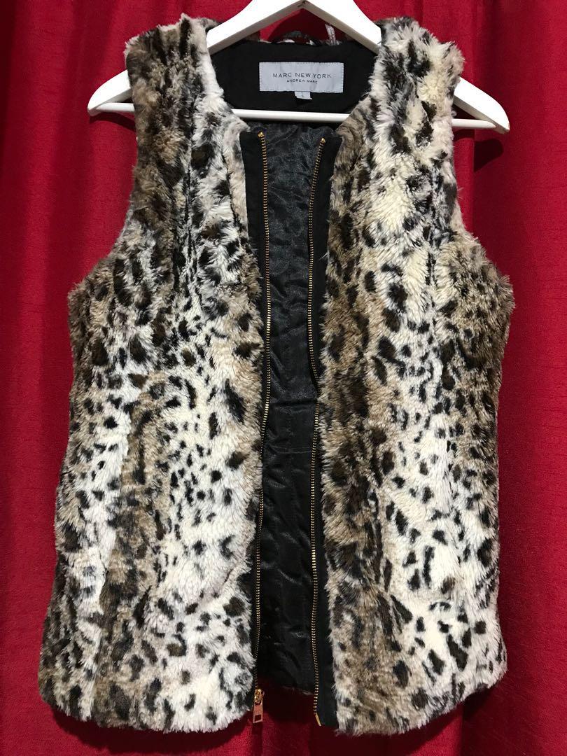 0c871b36f663 Andrew Marc   Faux Fur Leopard Print Vest on Carousell