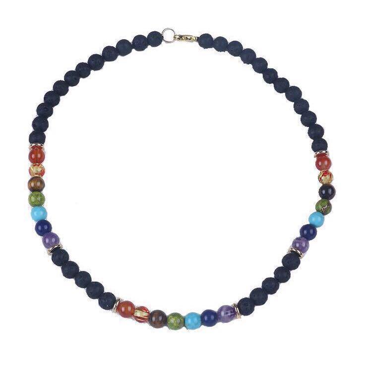 Aromatherapy Jewellery - LAVA STONE NECKLACE with CHAKRA GEMSTONES