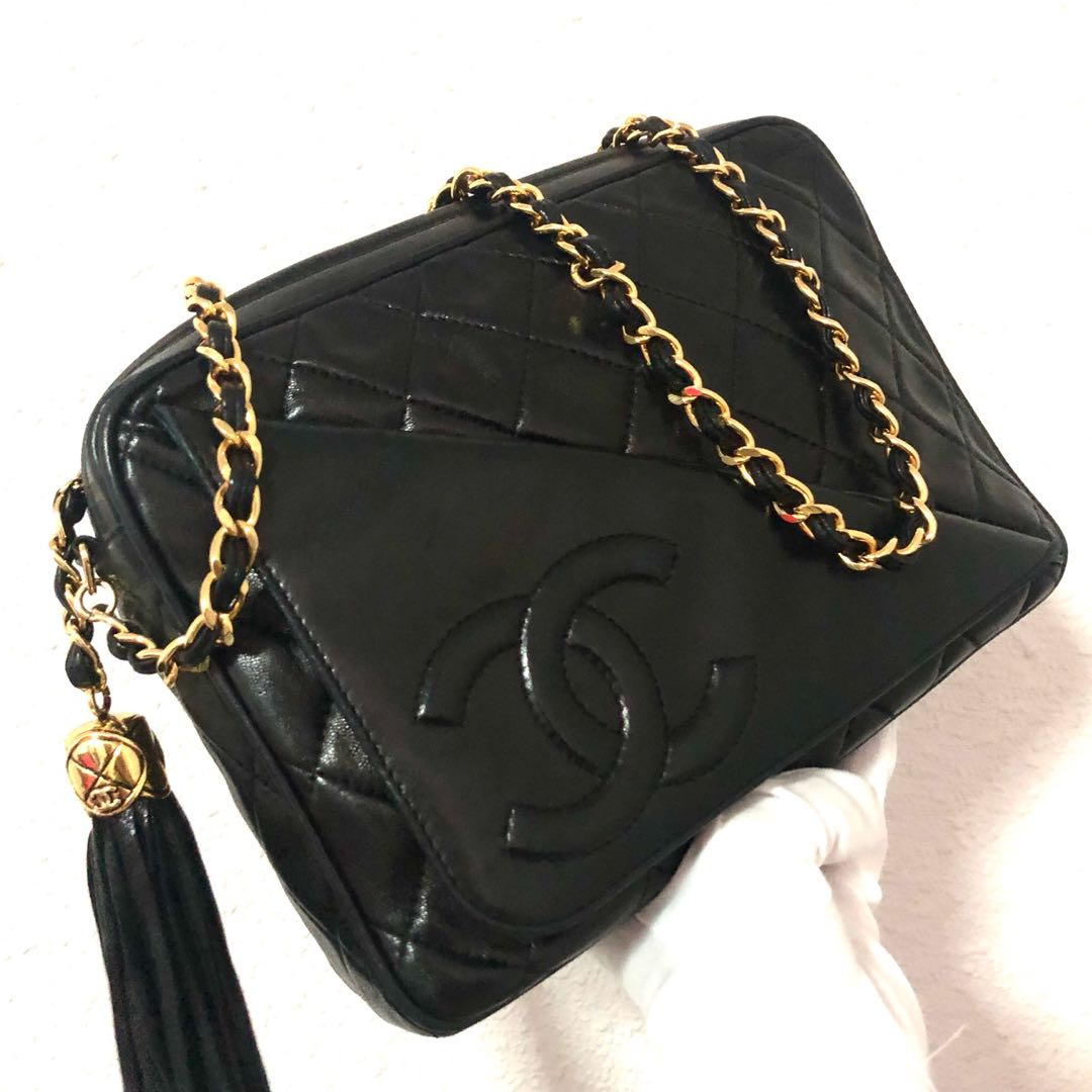 722caeee1db7 Authentic Chanel Lambskin Camera Bag with Trademark Fold and 24k ...