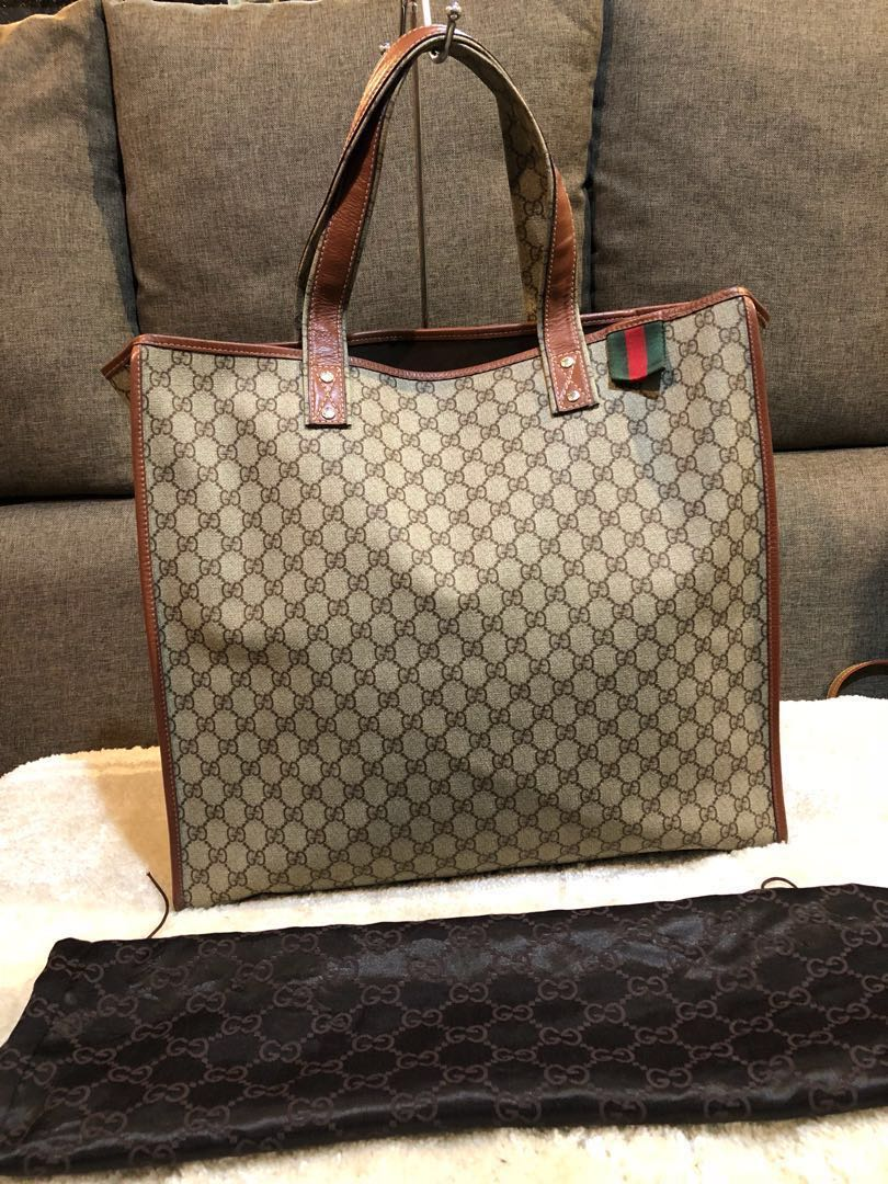 41fc28765b32 Authentic Gucci Large Vinyl Tote Bag With Dustbag , Luxury, Bags ...