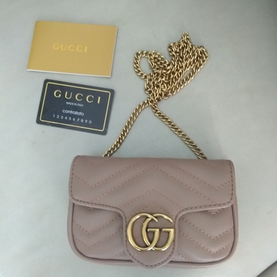 8e3822eded6 Authentic Gucci taupe matelasse leather super mini size bag