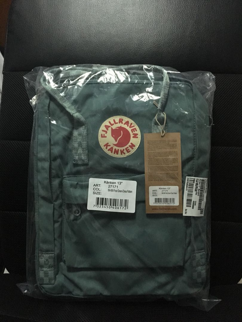 "8fee933a0a Authentic Kanken 13"" Frost Green Chess Pattern BNWT"