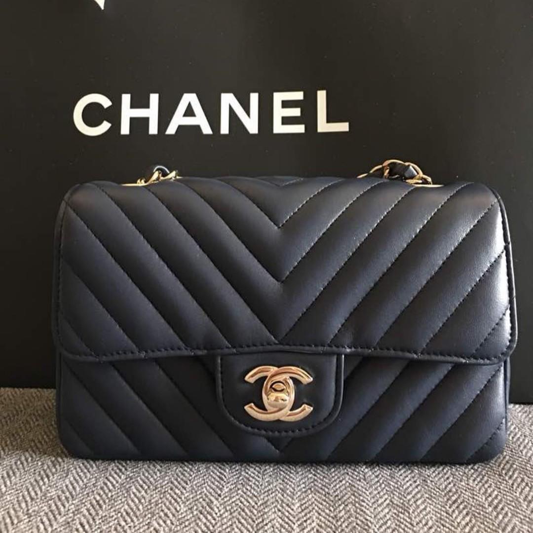 b7ffa5fa7bb5 Brand New Chanel Mini Rectangular Lambskin Navy Blue with Light Gold ...