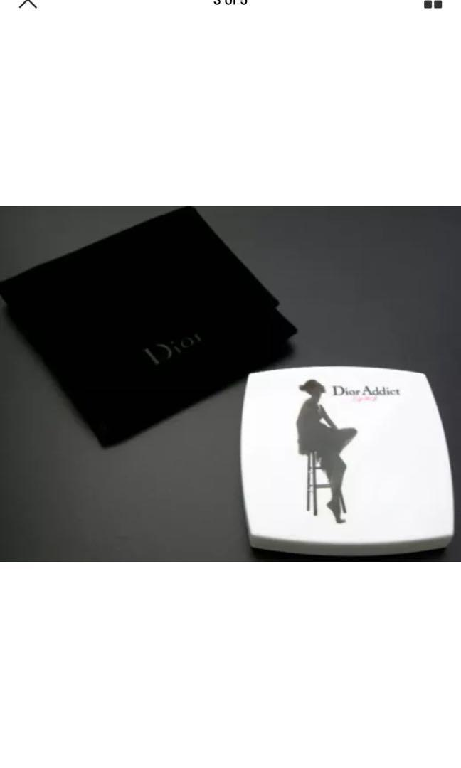 Brand new Dior Addict Compact mirror with velvet vase and Dior Beauty Pouch bag clutch
