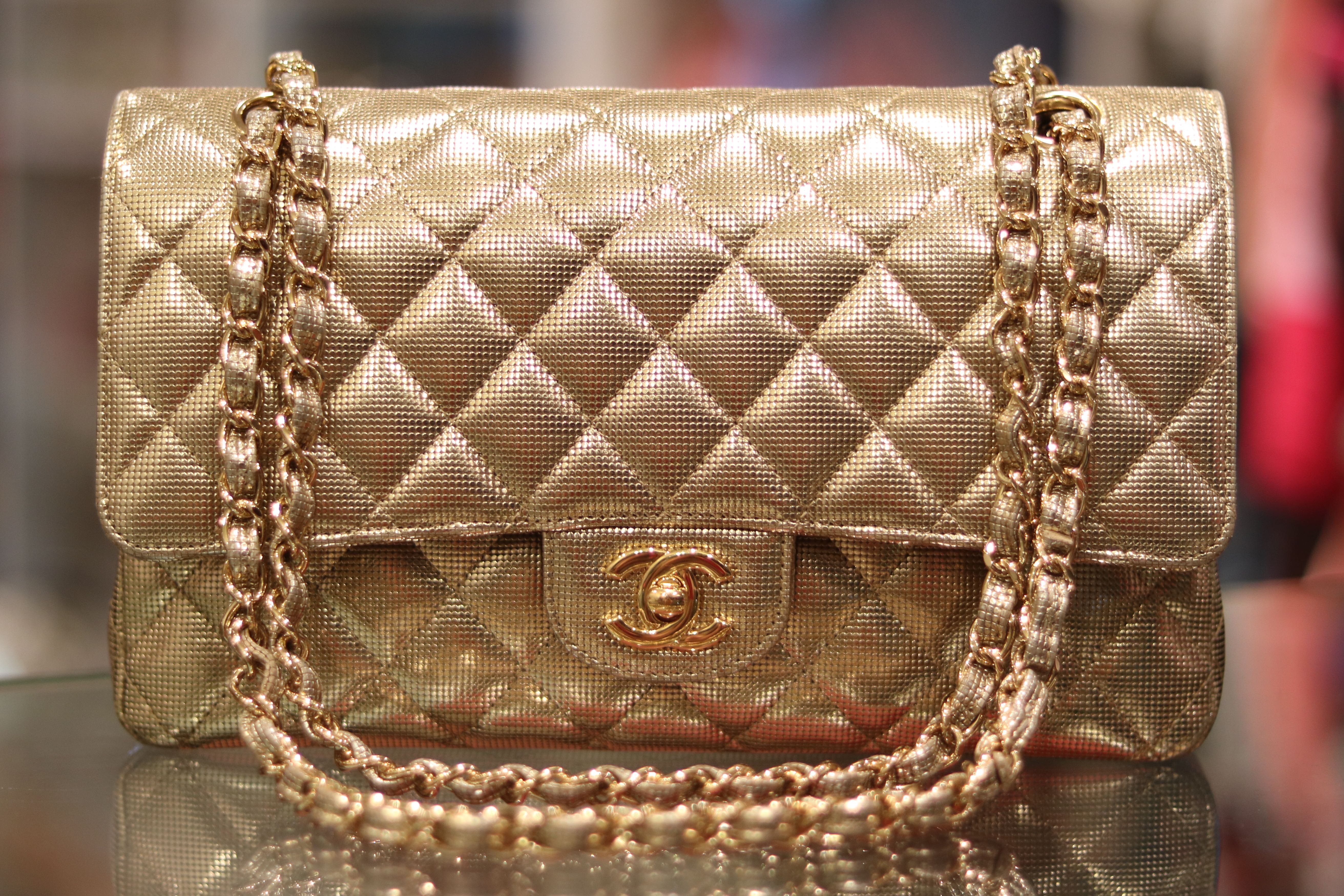 0957f47c3a49 Chanel Classic Medium Flap Bag Pixel Effect Gold, Luxury, Bags & Wallets,  Handbags on Carousell