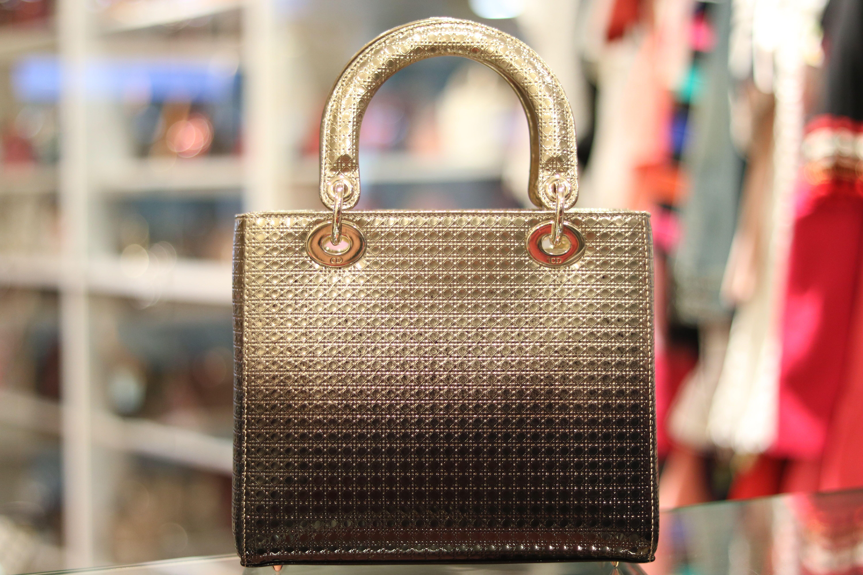 Christian Dior Medium Lady Dior Gold   Ebony Graded Metallic 44f6d2a9c8d0f