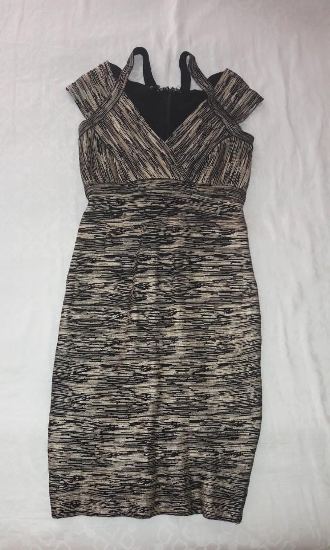 Dress Herve Leger Gold Black