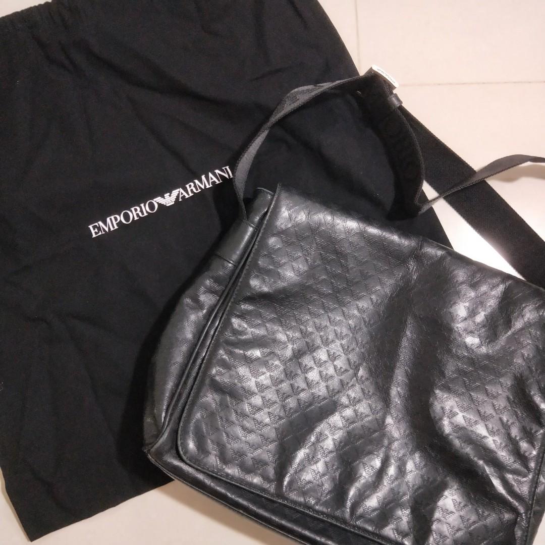 19b687f8a INS : Emporio Armani All-Over Logo Print PVC Messenger Bag, Luxury ...