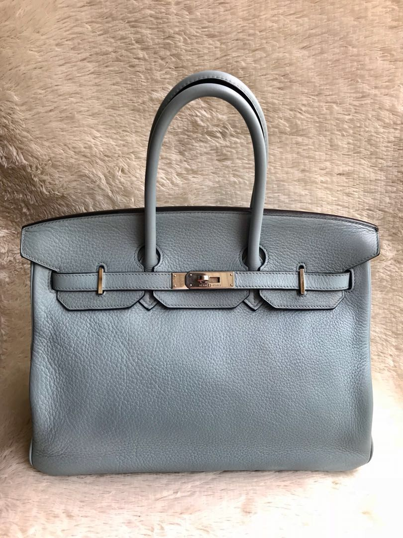 71b7ed2e120 Great Sale⚡️Hermes birkin 35 light blue ciel PHW, Women s Fashion ...