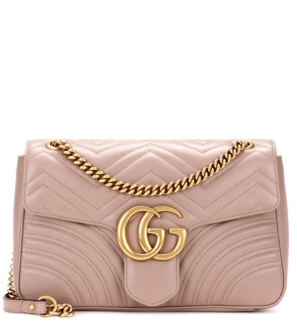 7fa56f5e4 Gucci Marmont matelassé shoulder bag beige medium, Luxury, Bags & Wallets  on Carousell